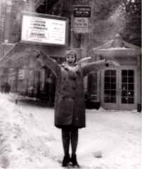 Inga Swenson in front of the Broadhurst Theater on Broadway!